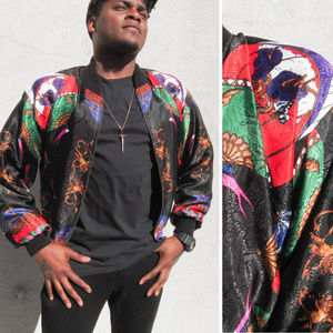 RARE VINTAGE 80's Silky Bomber Jacket Luxe Baroque